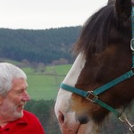 Steve with Baron Clydesdale one of the horses that inspired the Kelpies in Falkirk