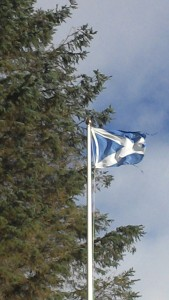 Windy day with Saltire Flag blowing in the wind